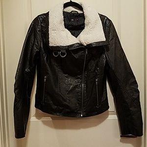 Vegan Leather Dark Brown Bomber Jacket - Size L